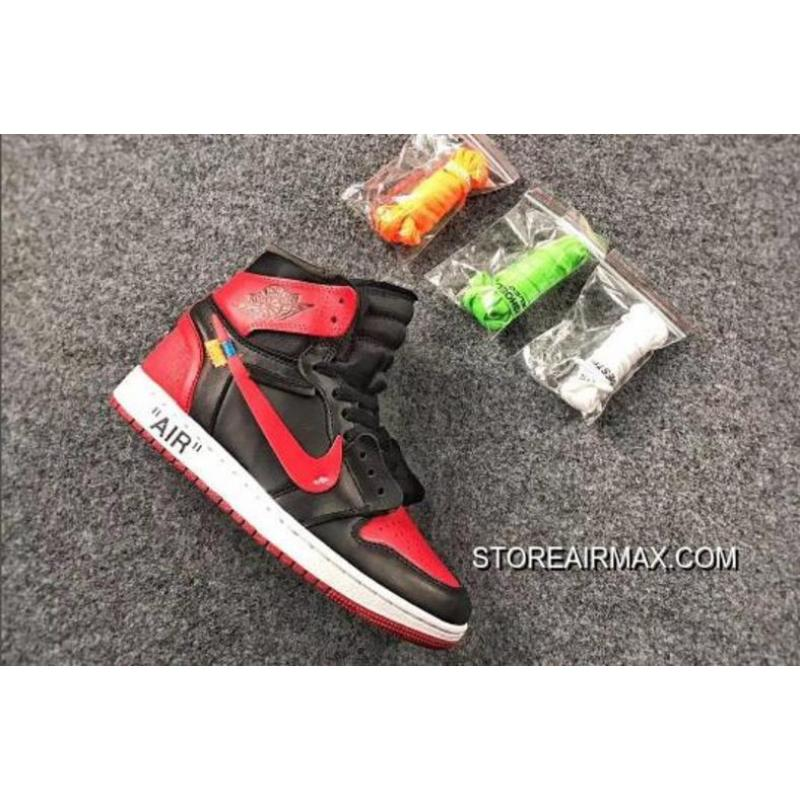 "8093dd0d4d0 OFF-WHITE X Air Jordan 1 ""Bred"" Black Varsity Red-White For Sale ..."