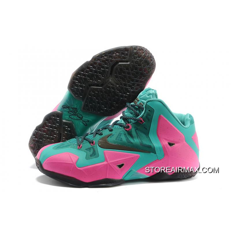 ad0481a075182 Nike LeBron James 11 Pink New Green-Black For Sale ...