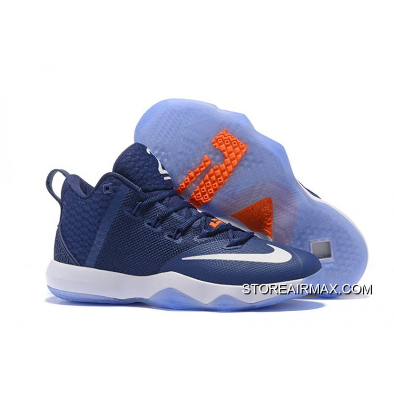 8558f05200a Copuon Nike LeBron Ambassador 9 Navy Blue White Orange .