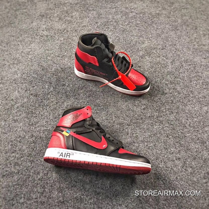"7e30391855b2 OFF-WHITE X Air Jordan 1 ""Bred"" Black Varsity Red-White For Sale ..."