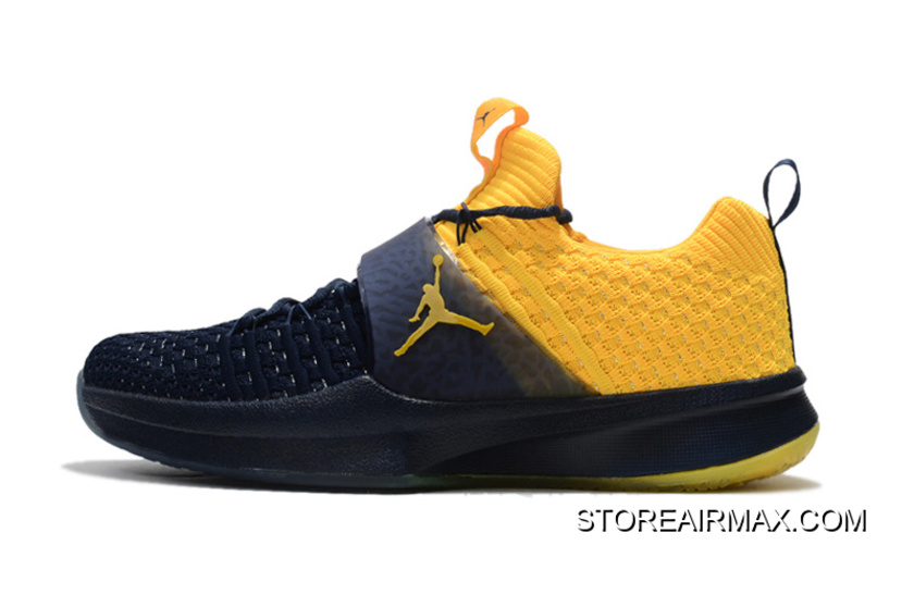 """separation shoes dddb5 be269 Jordan Trainer 2 Flyknit """"Michigan"""" College Navy-Amarillo For Sale"""