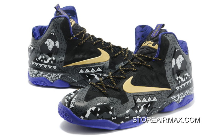"4a7acd2637c0 Nike LeBron 11 ""BHM"" Anthracite Metallic Gold-Purple Venom Discount ..."