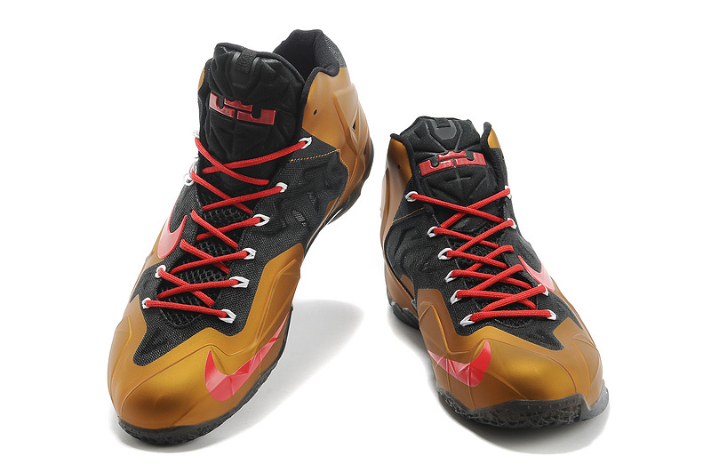 wholesale dealer a2c1a 5daff Free Shipping Nike LeBron James 11 Metal Gold Black Red