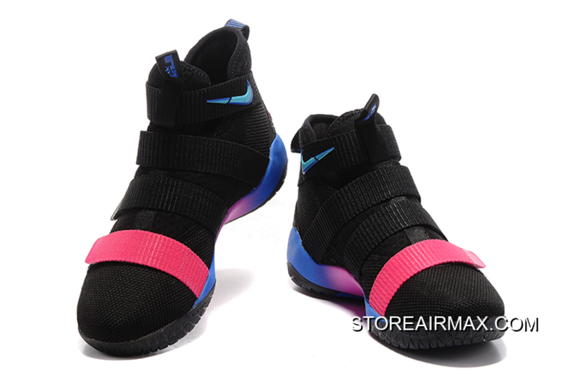 008d44253717 Nike LeBron Soldier 11 Black Blue Pink Free Shipping