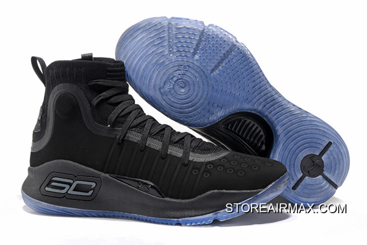7ced9659ac5 Under Armour Curry 4 All Black Ice Blue Sole New Release